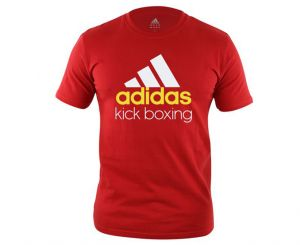 Футболка Community T-Shirt Kickboxing красно-белая, размер S, артикул adiCTKB
